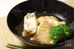 餅と鶏肉の袋煮(切り餅+鶏ひき肉を使ったレシピ)