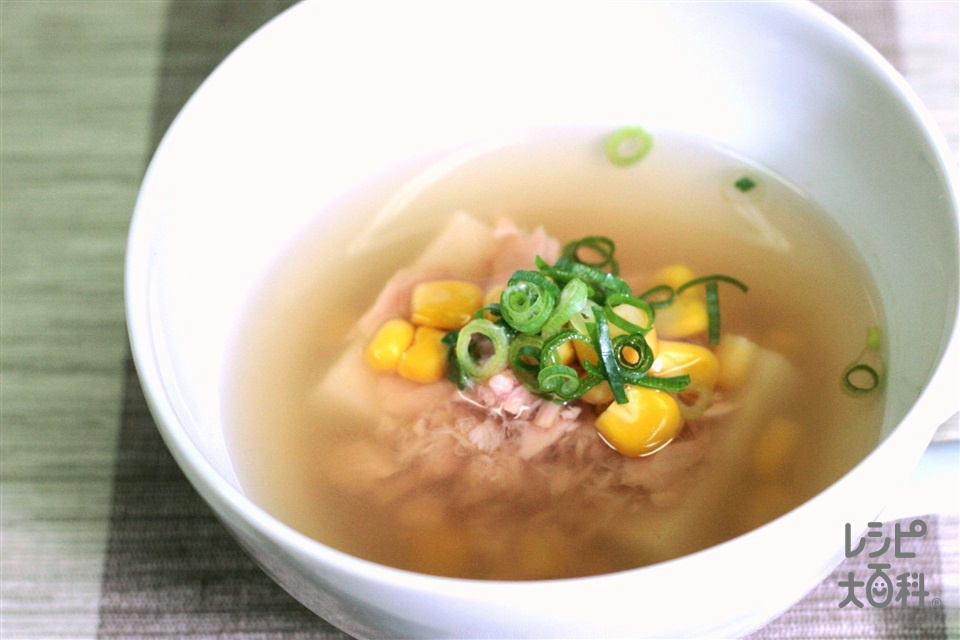 レンチン雑煮(和風)(餅+ツナ油漬缶を使ったレシピ)