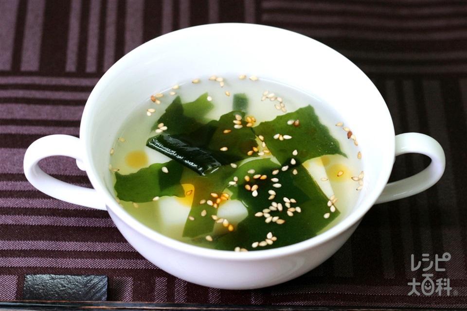 レンチン雑煮(中華風)(餅+カットわかめ(乾)を使ったレシピ)