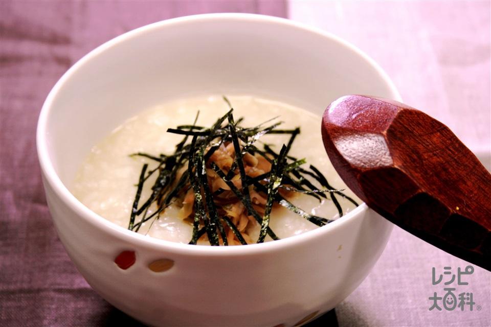 ザーサイとのりの中華風粥(「味の素KKおかゆ」白がゆ+「丸鶏がらスープ」を使ったレシピ)