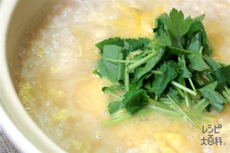 鍋の〆 三つ葉と卵の雑炊