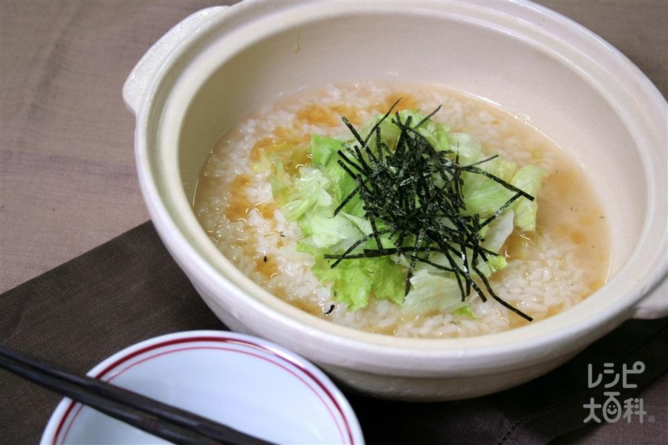 鍋の〆 レタスとのりの中華風雑炊