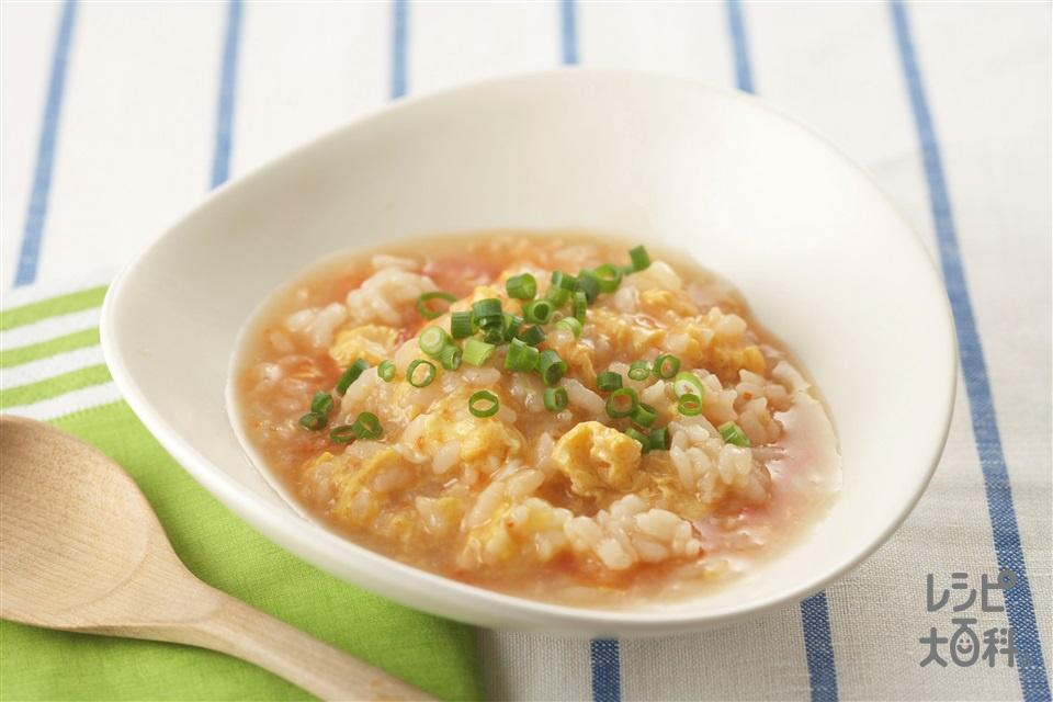 ピリ辛シメ雑炊(ご飯+溶き卵を使ったレシピ)