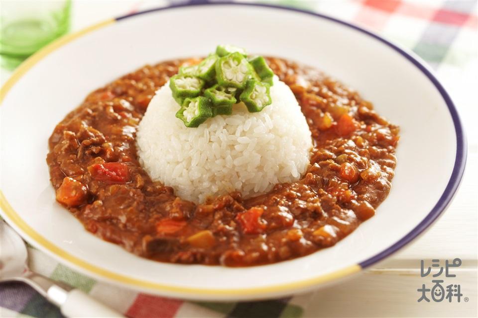 夏野菜のスピードキーマカレー(トマト+ご飯を使ったレシピ)