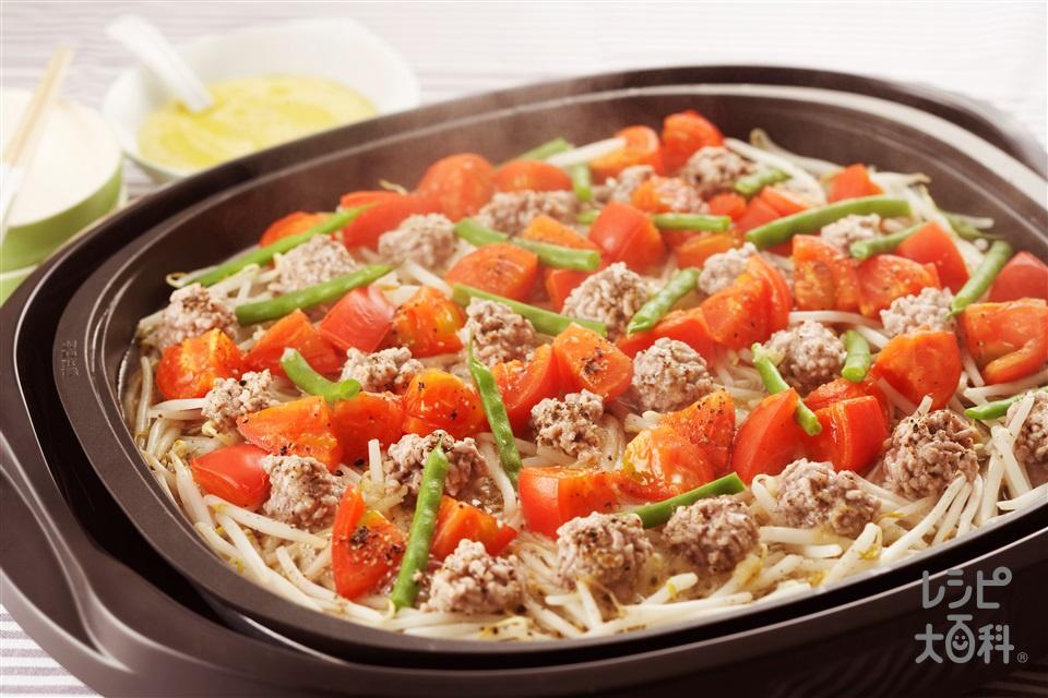 ひき肉とトマトのスパイシー蒸し(もやし+トマトを使ったレシピ)