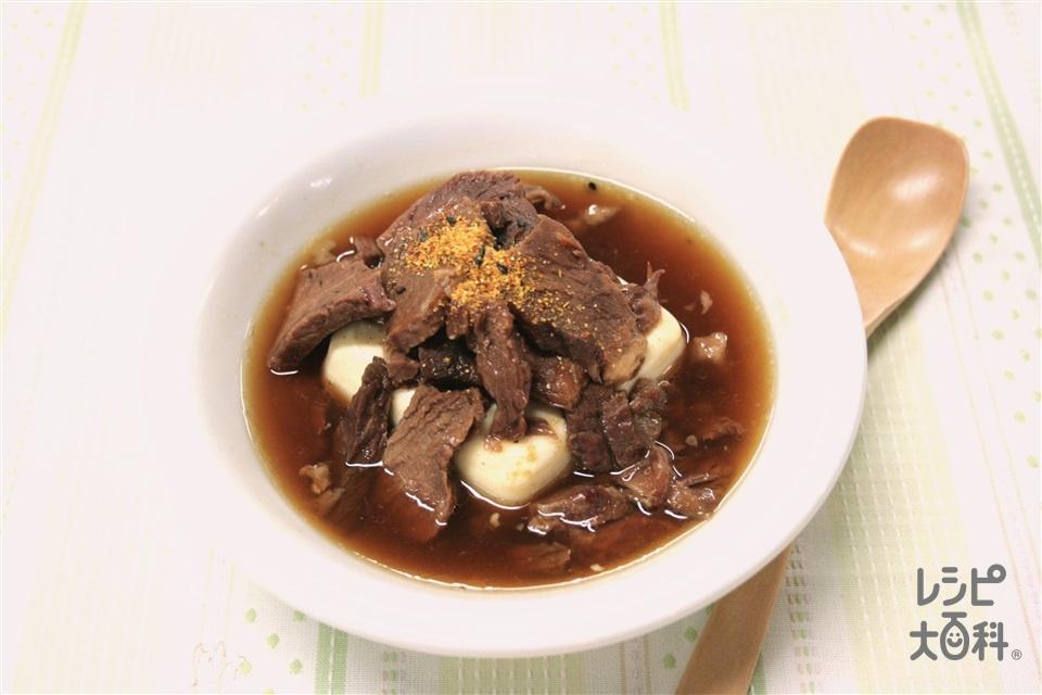缶詰めで3分 肉豆腐(絹ごし豆腐+牛肉の大和煮(市販品)を使ったレシピ)