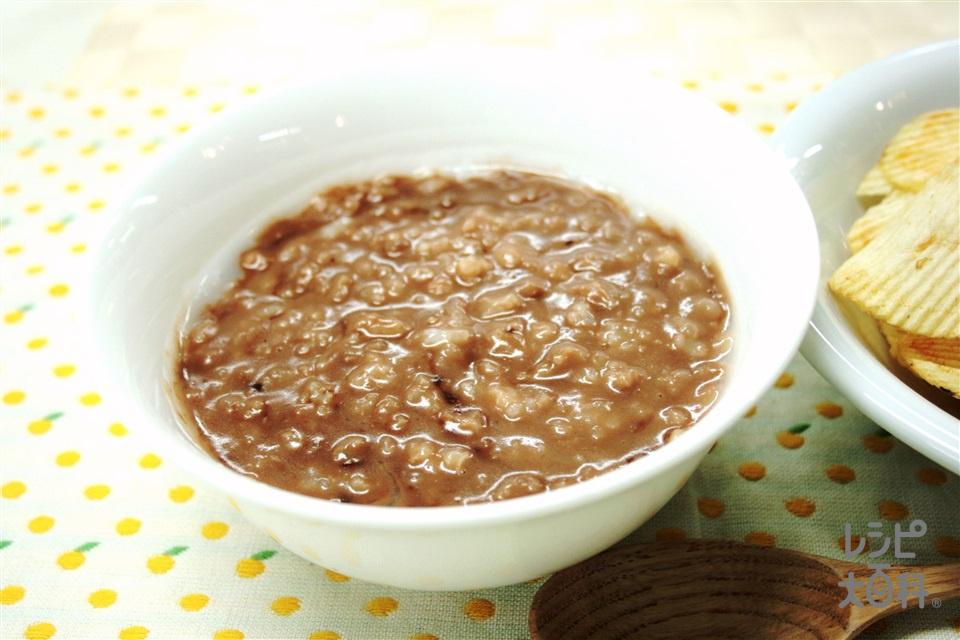 チョコがゆ with チップス(「味の素KKおかゆ」白がゆ+板チョコレートを使ったレシピ)