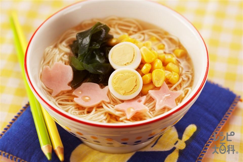 ラーメン風にゅう麺(そうめん+乾燥カットわかめを使ったレシピ)
