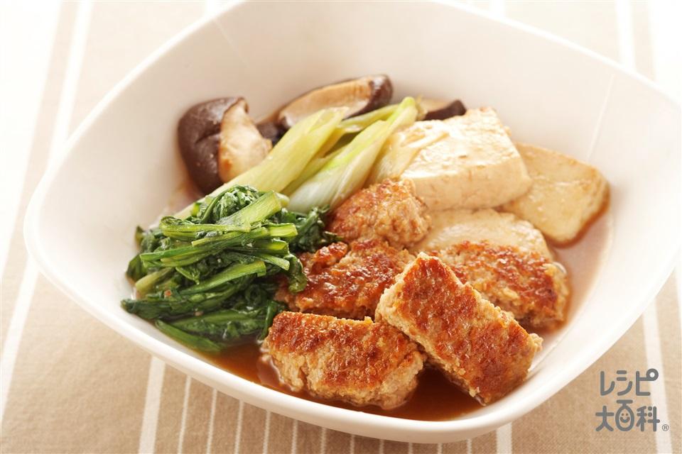 豚ひき肉ですき煮風(木綿豆腐+春菊を使ったレシピ)