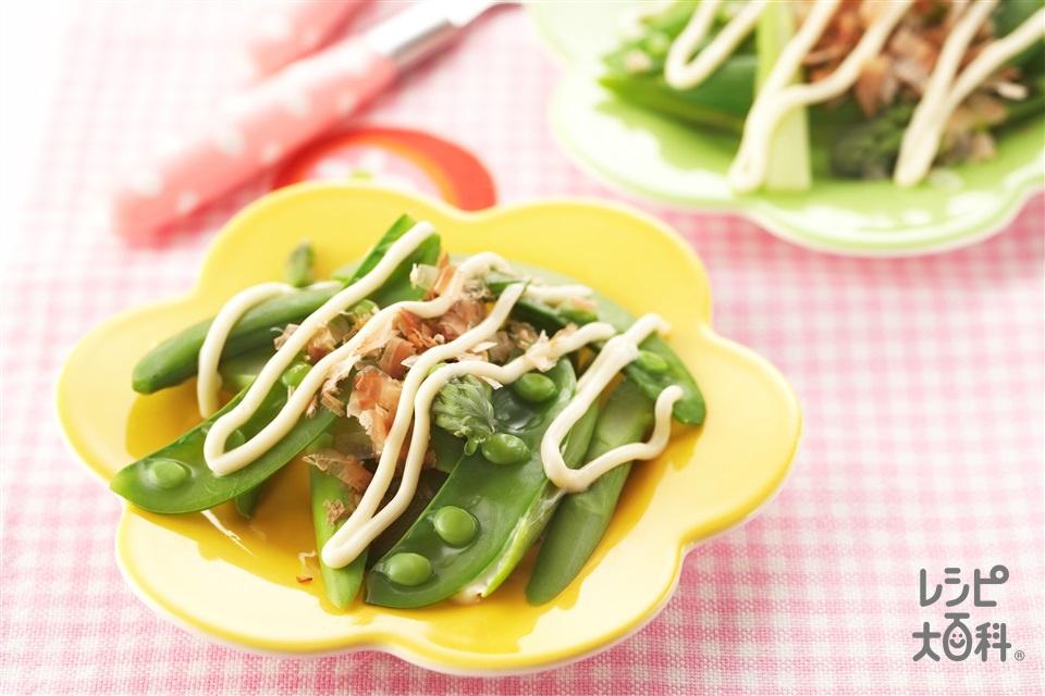 スナップえんどうとアスパラのマヨおひたし(スナップえんどう+グリーンアスパラガスを使ったレシピ)