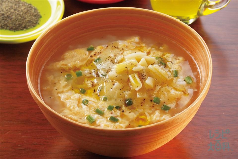 シメの雑炊 チーズをのせてリゾット風(ご飯+溶き卵を使ったレシピ)