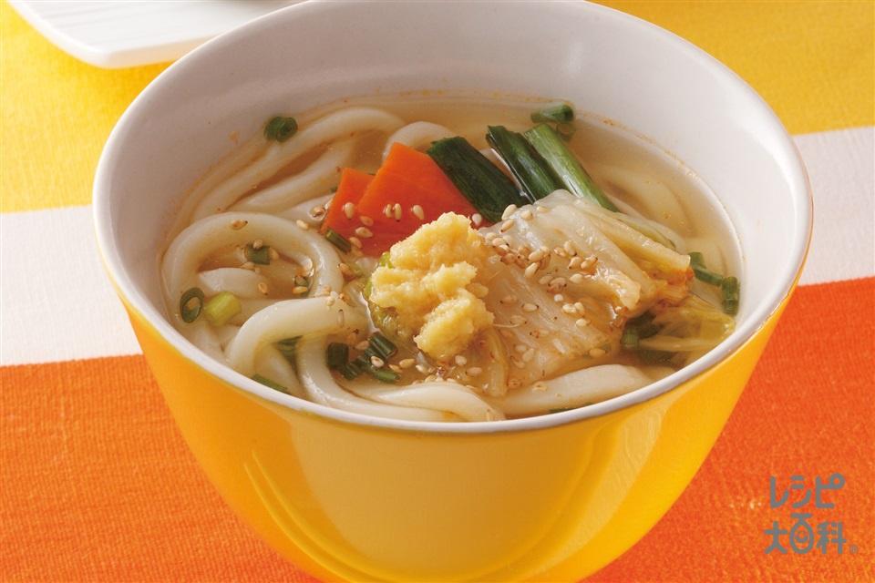シメのうどん おろししょうがでさっぱりうどん(うどん+「丸鶏がらスープ」を使ったレシピ)
