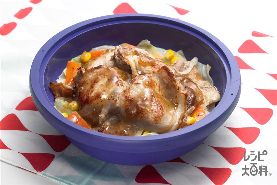 豚肉のガーリック焼き(シリコンスチーマー使用)(豚ロースしょうが焼き用肉+キャベツを使ったレシピ)