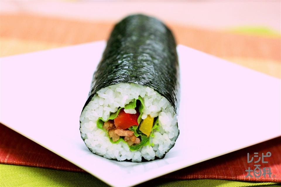 中華恵方巻き カラフル青椒肉絲巻き(米+豚薄切り肉を使ったレシピ)