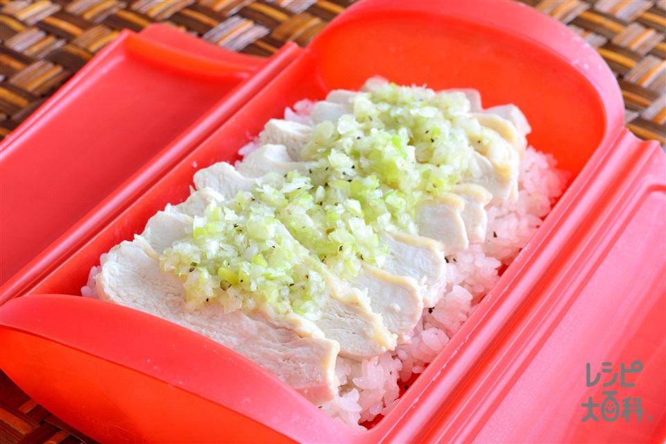 シリコンスチーマーで 中華風チキンライス(鶏むね肉+米を使ったレシピ)