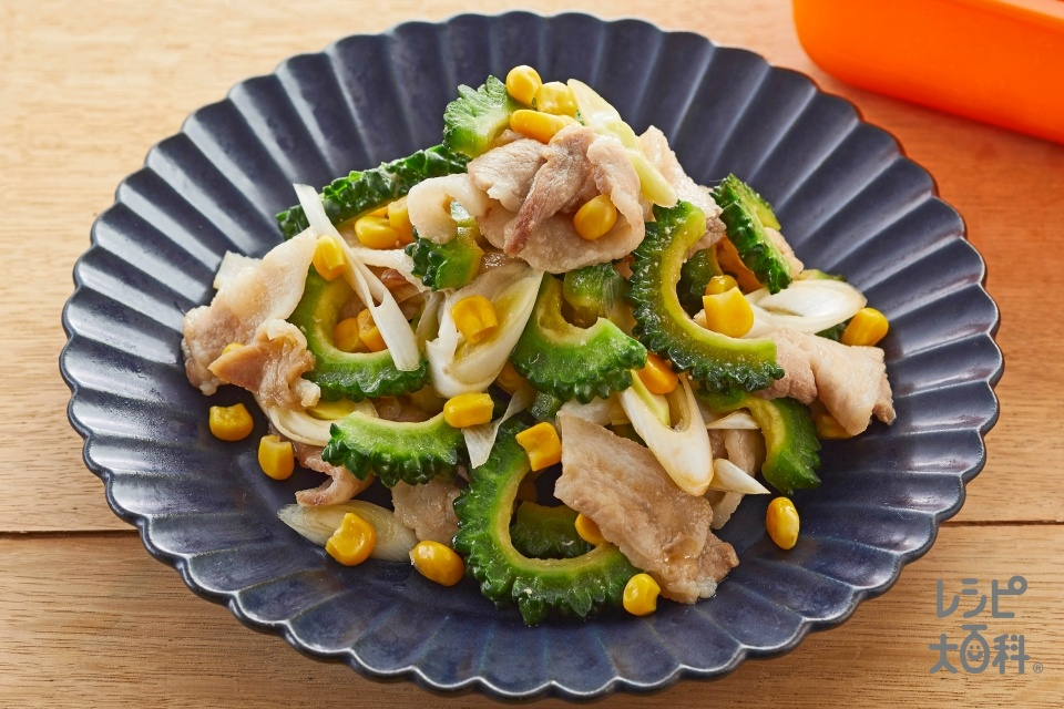 豚バラとゴーヤの甘辛蒸し(豚バラ薄切り肉+ゴーヤを使ったレシピ)