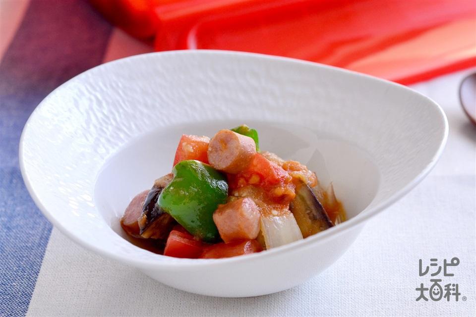 シリコンスチーマーで ごろごろ野菜とウインナーのラタトゥイユ(トマト+なすを使ったレシピ)