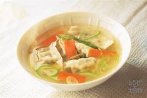 丸鶏スープ餃子(ねぎ+にんじんを使ったレシピ)