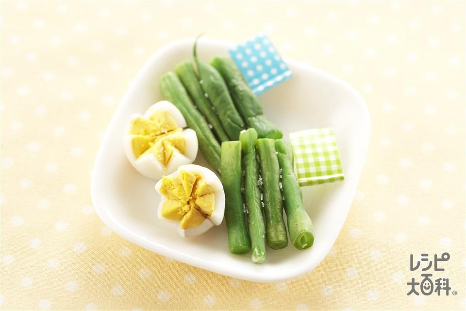 いんげんとうずらのピンチョス(さやいんげん+うずらの卵の水煮を使ったレシピ)