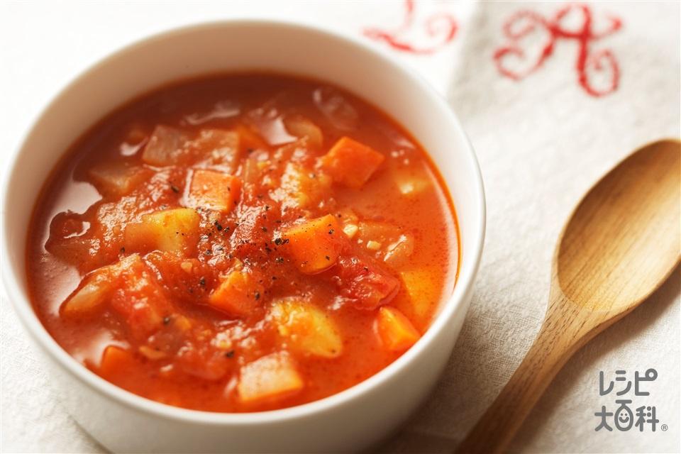 野菜たっぷりミネストローネ(玉ねぎ+カットトマト缶を使ったレシピ)