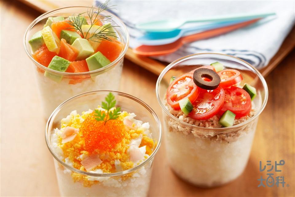 カップ寿司3種(温かいご飯+ツナ缶を使ったレシピ)