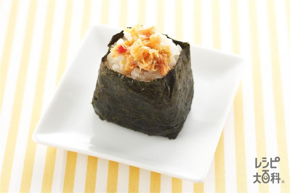 ツナキムチおにぎり(温かいご飯+ツナ油漬缶を使ったレシピ)