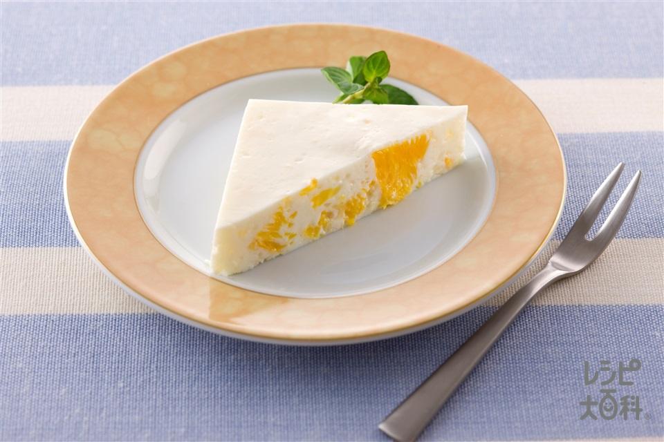 グレープフルーツとオレンジの食べジャムチーズケーキ(クリームチーズ+プレーンヨーグルトを使ったレシピ)