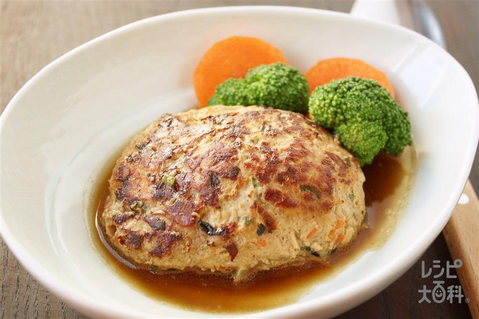 スプーンで食べる和風煮込みハンバーグ(合いびき肉+玉ねぎのみじん切りを使ったレシピ)
