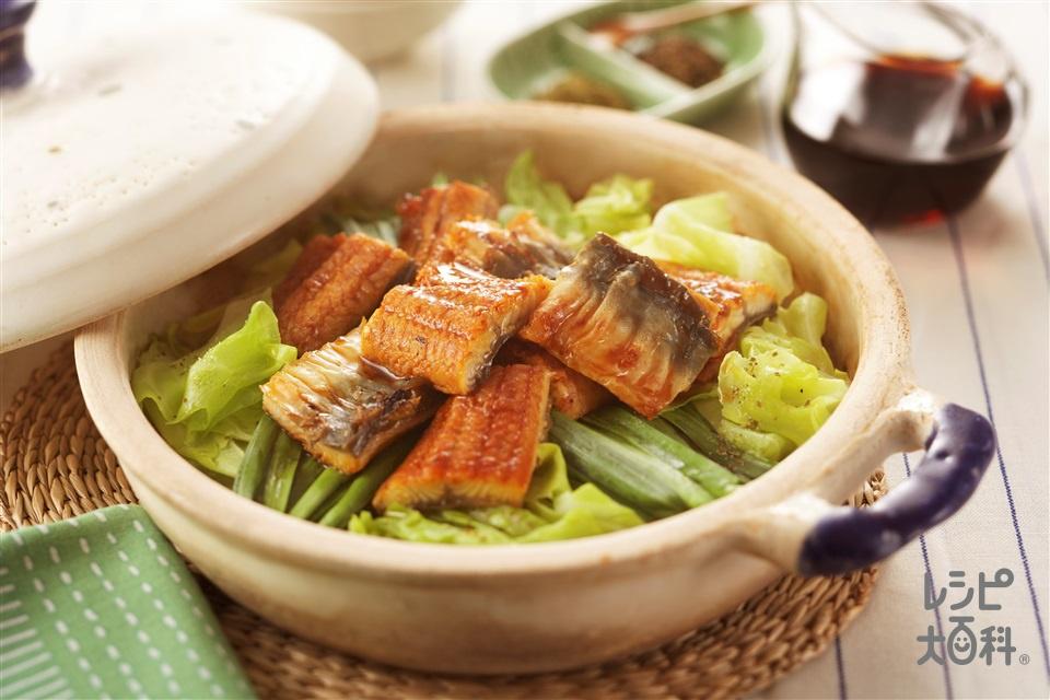 うなぎとにらの蒸し鍋(うなぎのかば焼き+キャベツを使ったレシピ)