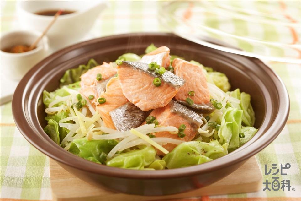 塩鮭とキャベツの蒸し鍋(甘塩ざけ+キャベツを使ったレシピ)