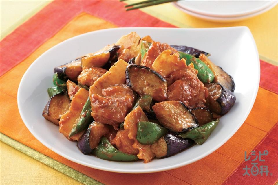 なすと鶏肉のピリ辛みそ炒め(鶏もも肉+ゆでたけのこを使ったレシピ)
