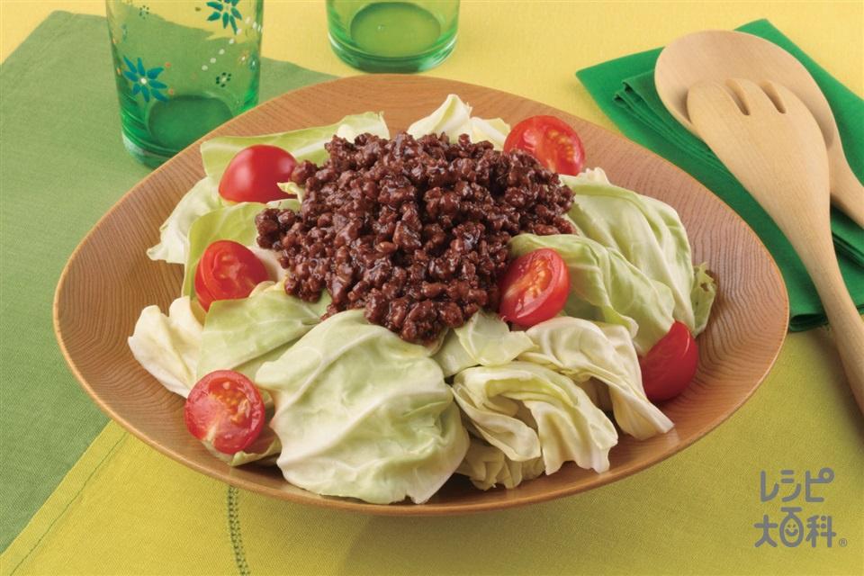パリパリキャベツのピリ辛肉みそサラダ(豚ひき肉+キャベツを使ったレシピ)