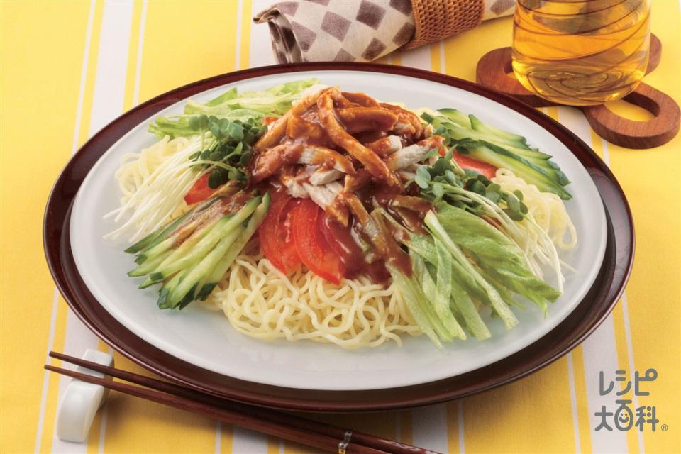 レンチン蒸し鶏の冷やしめん(中華生めん+トマトを使ったレシピ)