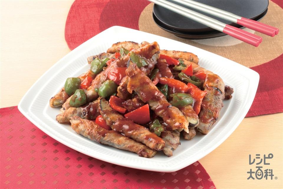 なすの肉巻きピリ辛ソース(豚バラ薄切り肉+なすを使ったレシピ)