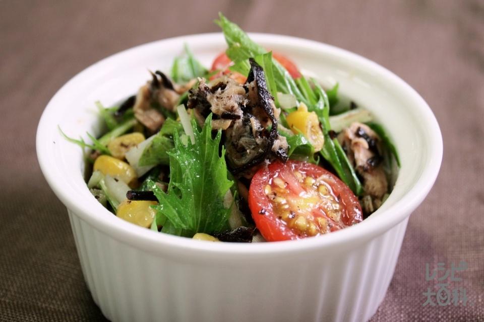 ひじきと彩り野菜のサラダ(ひじき(ドライパック)+ホールコーン缶を使ったレシピ)