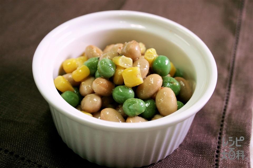 大豆とグリンピースの豆サラダ