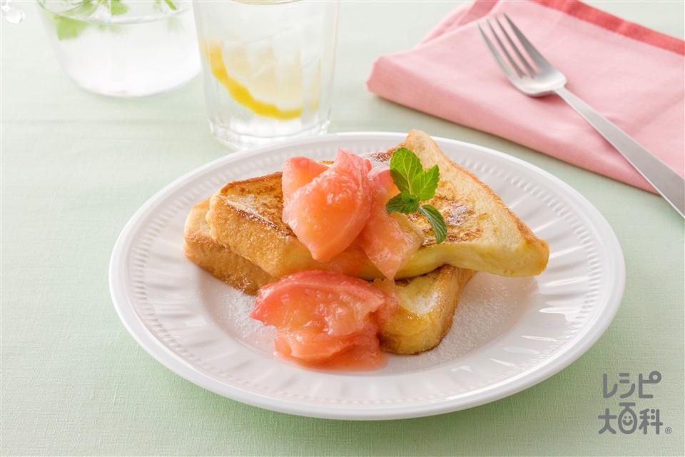 ヘルシーフレンチトーストりんごの食べジャム添え(牛乳+食パン6枚切りを使ったレシピ)