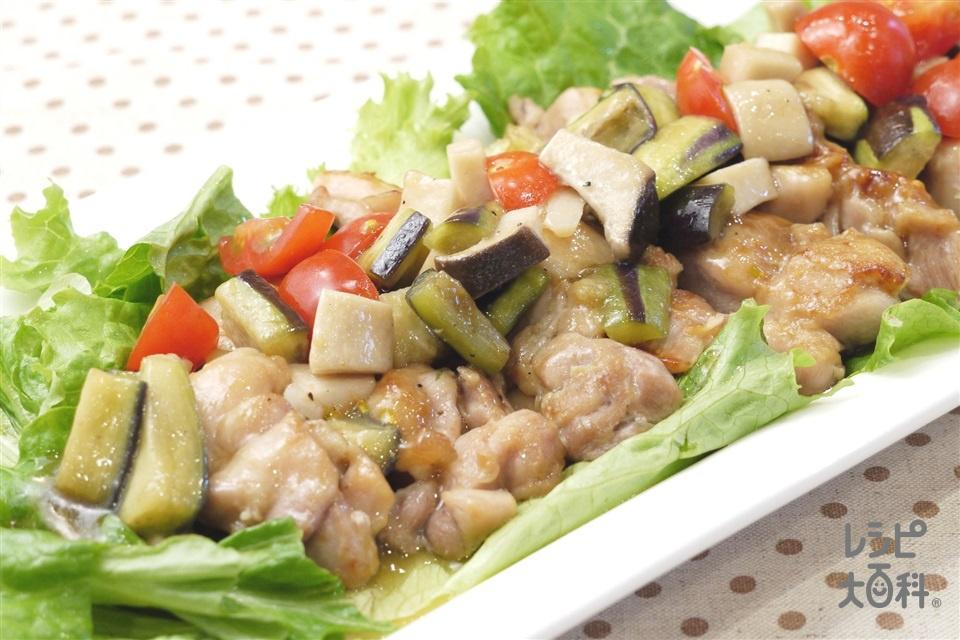 フライパン1つで 鶏肉と彩り野菜の蒸し煮(鶏もも肉+ミニトマトを使ったレシピ)