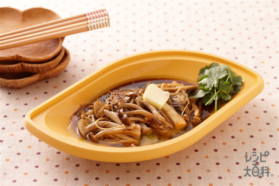 ガーリックバターしょうゆの蒸しきのこ(しめじ+エリンギを使ったレシピ)