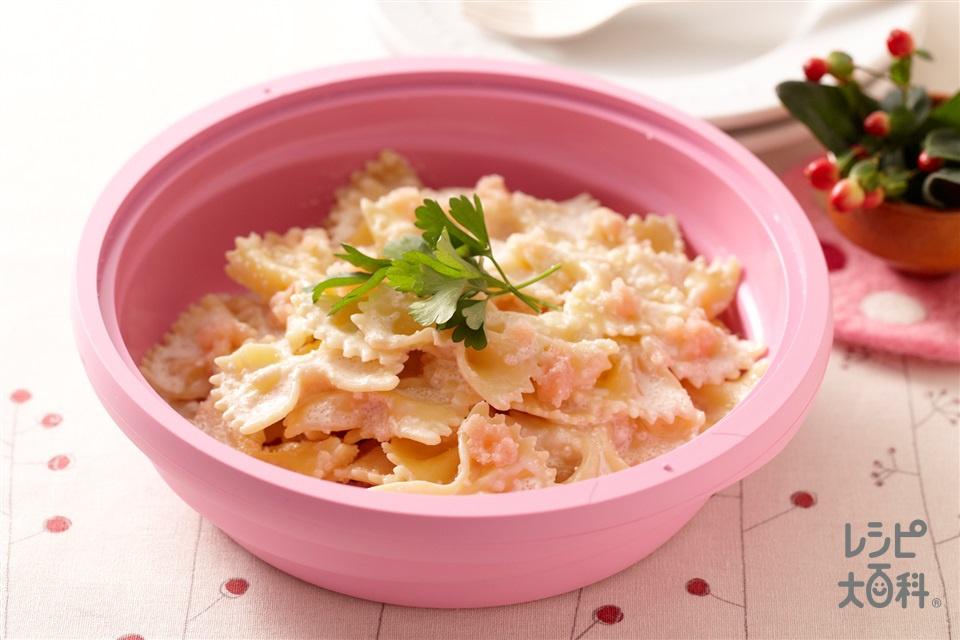 レンジで たらこクリームパスタ(ファルファッレ+生クリームを使ったレシピ)