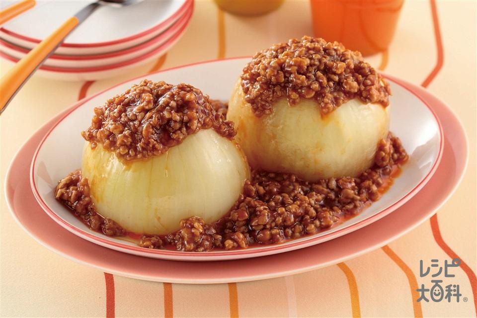 まるごと新玉ねぎのピリ辛ソース(豚ひき肉+玉ねぎを使ったレシピ)