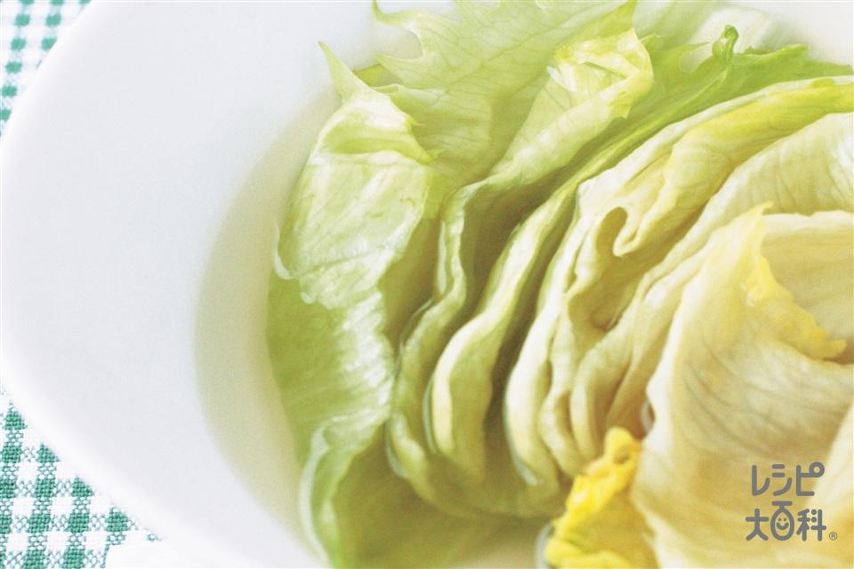 レタスのスープサラダ(レタス+「丸鶏がらスープ」を使ったレシピ)