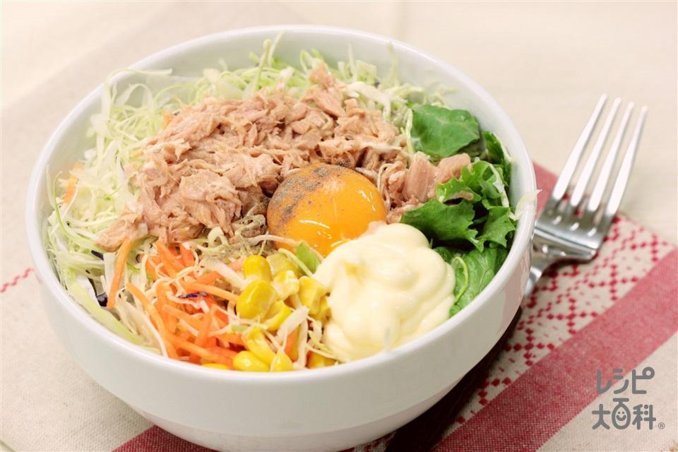 ツナ缶ユッケ丼〜米の上の野菜の上のツナの上に卵〜