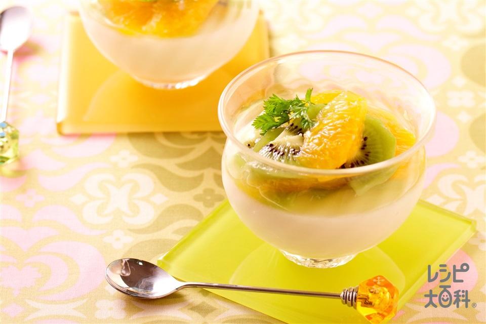 ミルクプリン(牛乳+キウイを使ったレシピ)
