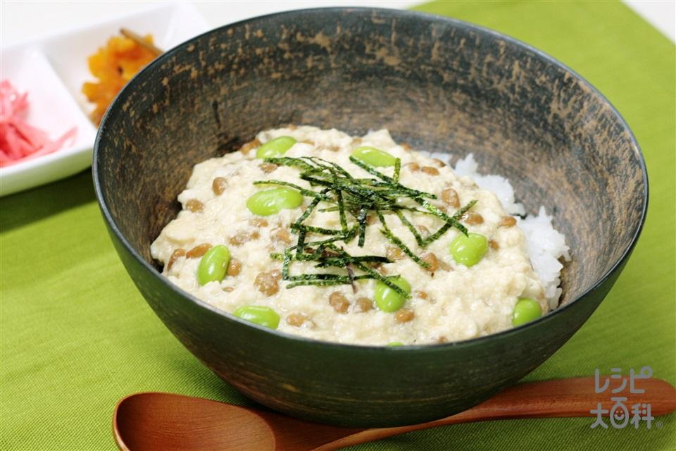 豆まめふわとろ丼(温かいご飯+納豆を使ったレシピ)