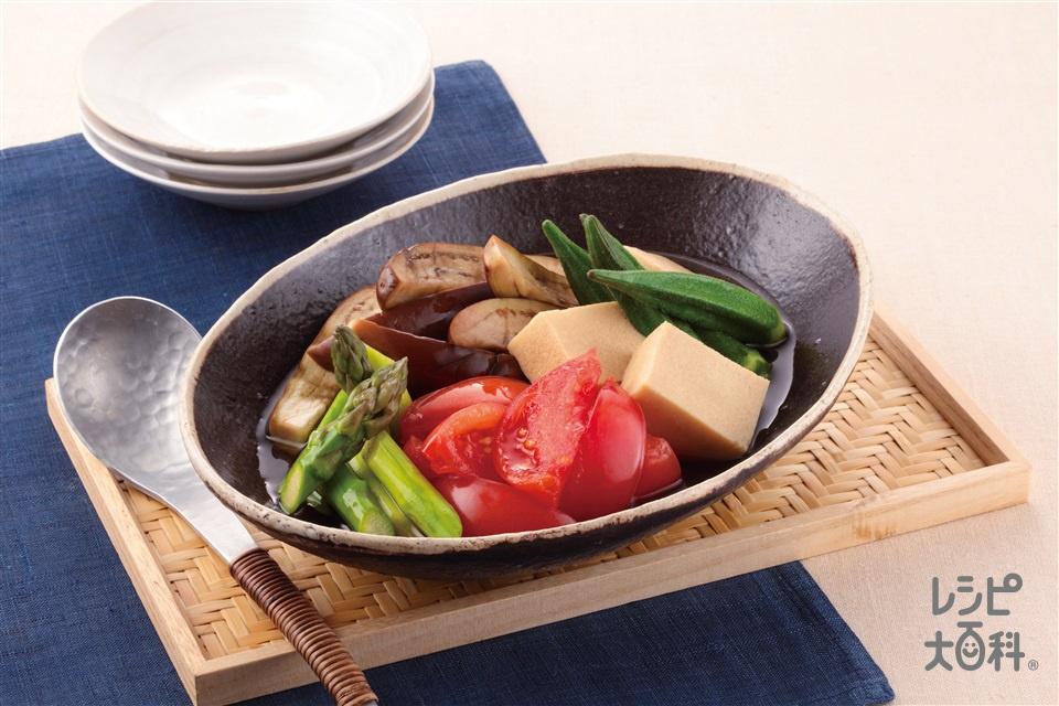 レンジで簡単!夏野菜の冷たい煮もの(トマト+なすを使ったレシピ)