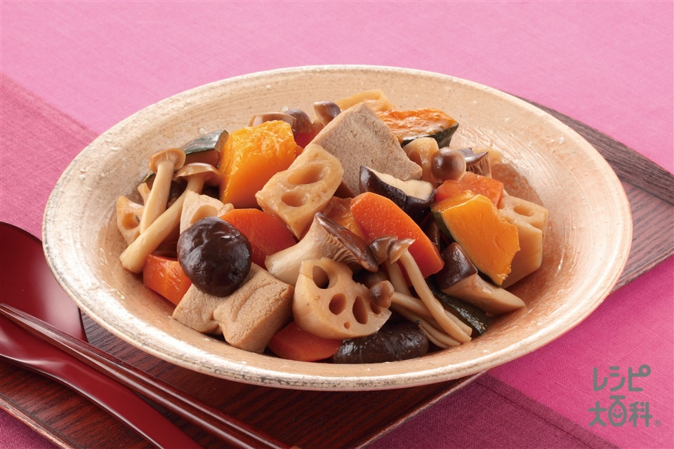 秋野菜の煮しめ(れんこん+かぼちゃを使ったレシピ)