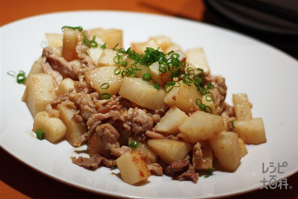 長いもと豚こまのにんにく味噌バター(長いも+豚こま切れ肉を使ったレシピ)