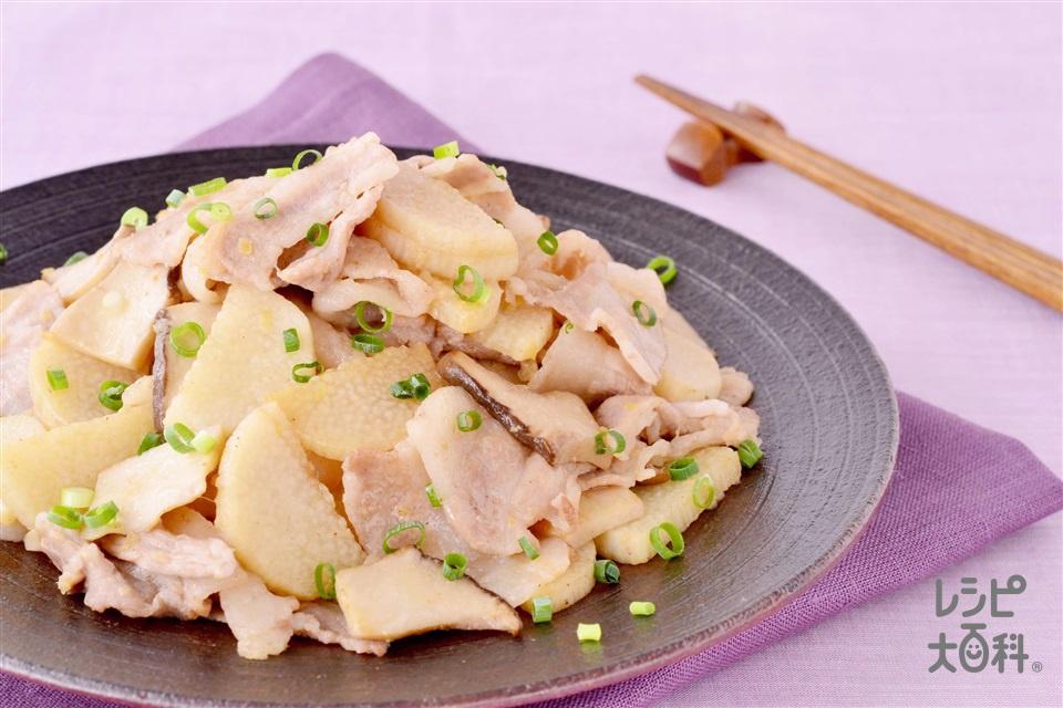 豚バラと長いもの蒸し焼き(豚バラ薄切り肉+長いもを使ったレシピ)