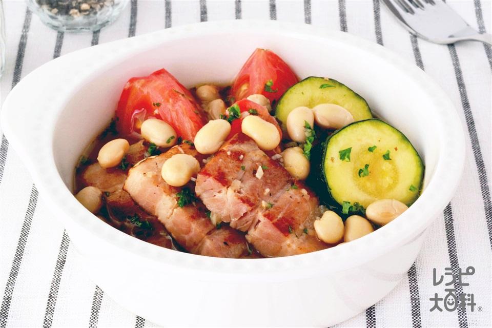 圧力鍋で 大豆と厚切りベーコンのコンソメ煮(大豆の水煮+トマトを使ったレシピ)